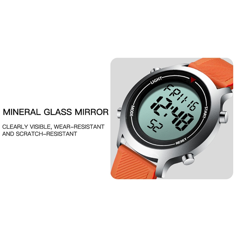 SYNOKE Orange Men Digital Watch for Men's Green Sport Watches Fashion Casual 30M Waterproof Electronic Watchwrist Simple Clock