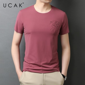UCAK Brand Classic O-Neck Solid Color Short Sleeve T-Shirts Summer New Fashion Arrivals Streetwear Casual T Shirt Homme U5552
