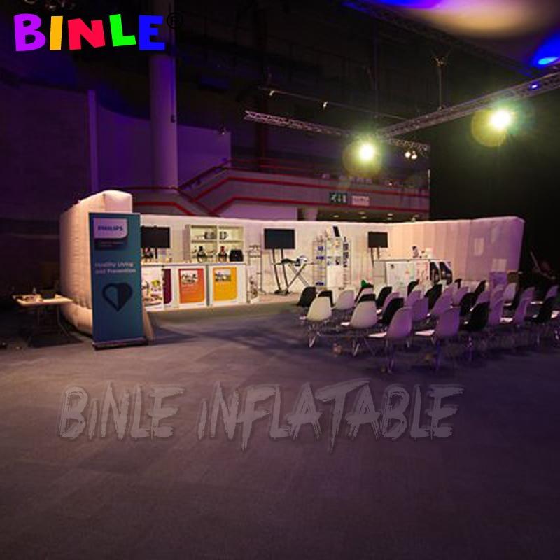 Pared inflable en forma de U de 6m con luces led, espacio de exhibición, Oficina inflable interior/sala de reuniones cabina de dj, divisor de feria