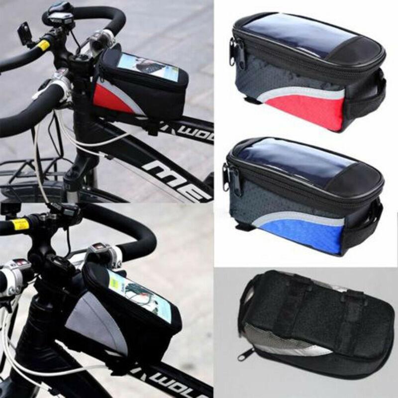 Bolsa de tubo para alforja de cuadro delantero de bicicleta, 3 colores, bolsa del teléfono móvil resistente al agua, bolsas para bicicleta de montaña y Mtb