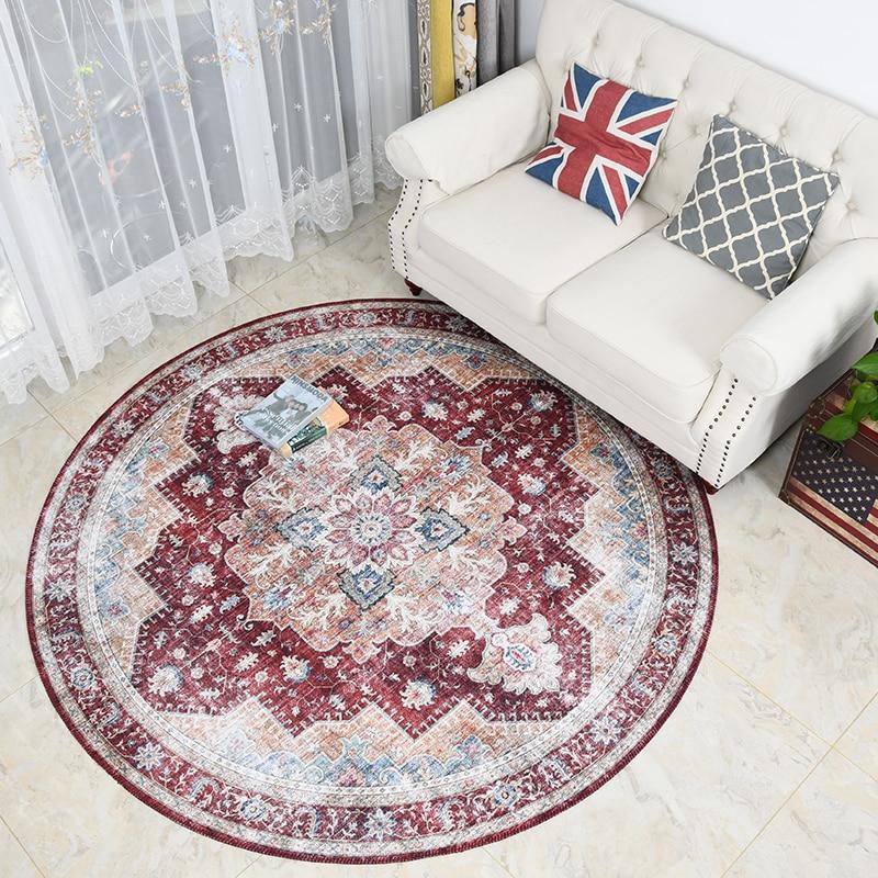سجادة ريترو مستديرة لغرفة المعيشة ، طراز فارسي ، مساحة كبيرة ، كرسي كمبيوتر ، سجادة أرضية أمريكية عتيقة غير قابلة للانزلاق