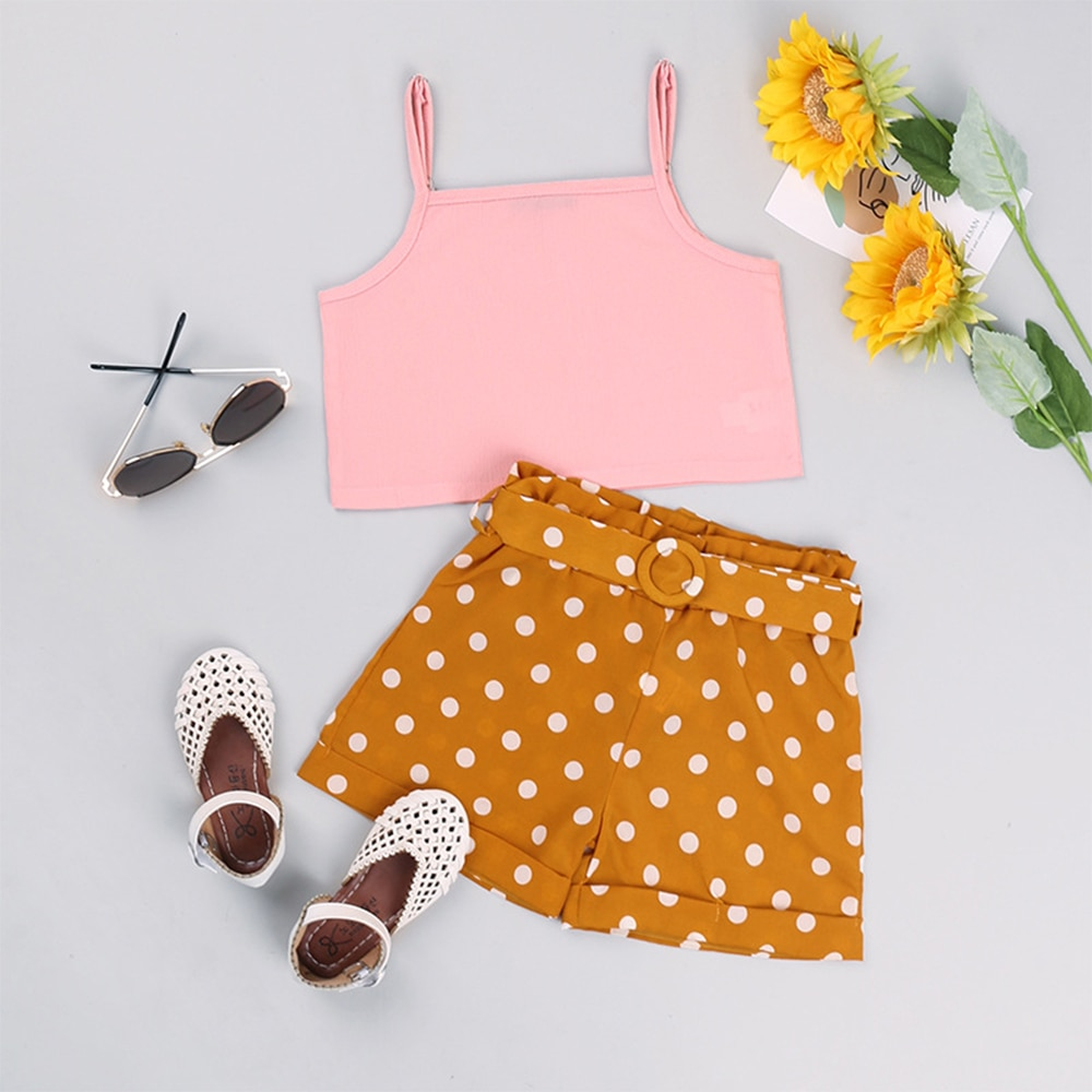 Kids Clothes Baby Girl Summer Outfits Beauty Princess Cute Designer  Elegant Free Shipping Pink Tulle Sling Top+Short Pants 2pcs