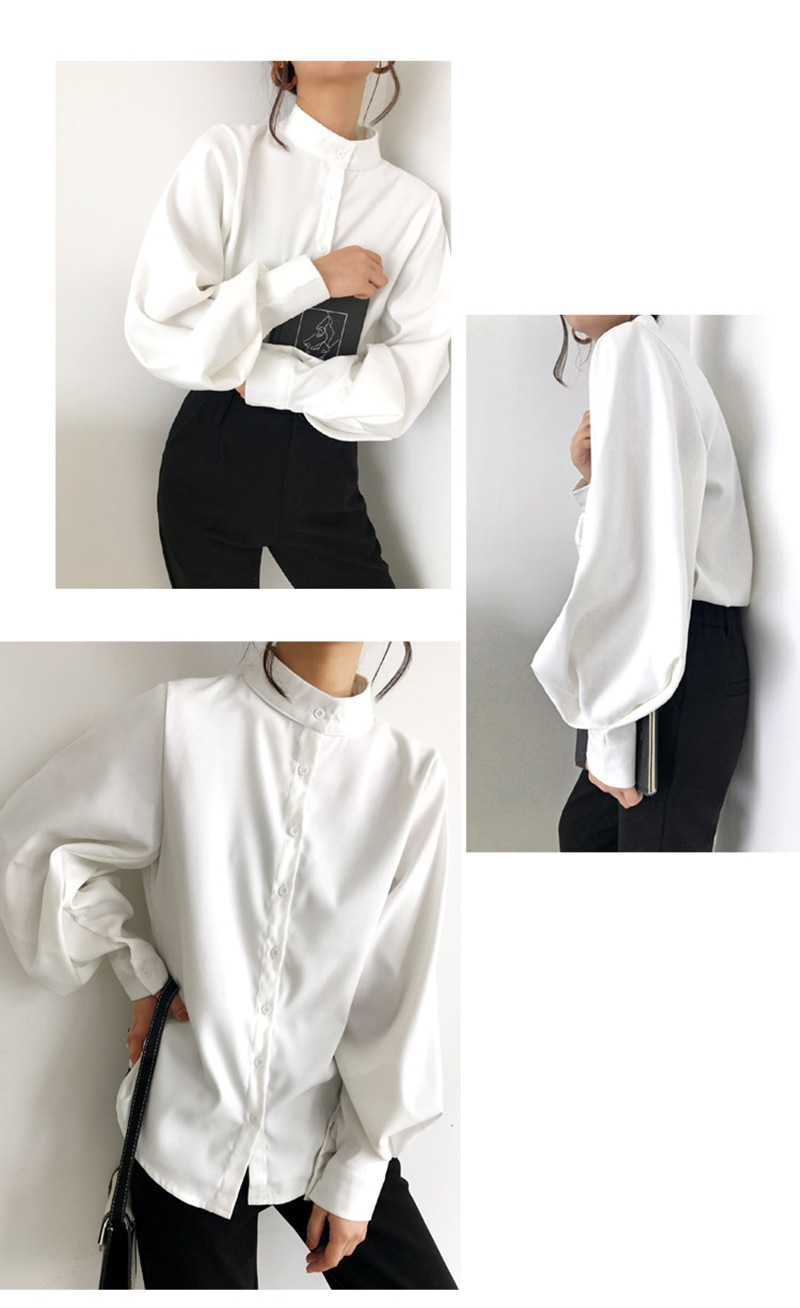 Big Lantern Sleeve Blouse Women Autumn Winter Single Breasted Stand Collar Shirts Office Work Blouse Solid Vintage Blouse Shirts enlarge