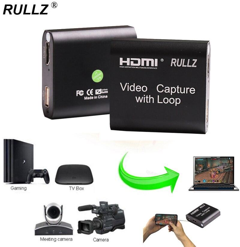 Rullz Loop out аудио видео устройство захвата HDMI карта захвата 4K 1080P USB 2,0 игра Запись в прямом эфире коробка для PS4 DVD камеры