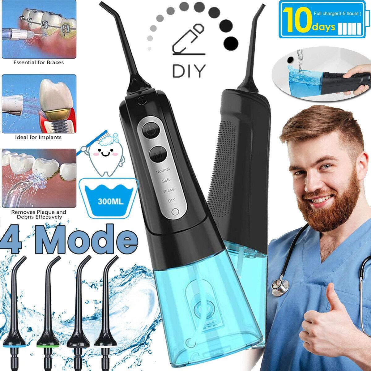 Flosser الأسنان مع حقيبة السفر جهاز تنظيف الأسنان بالماء USB قابلة للشحن 4 فوهات المياه النفاثة 300 مللي خزان المياه الفم الري