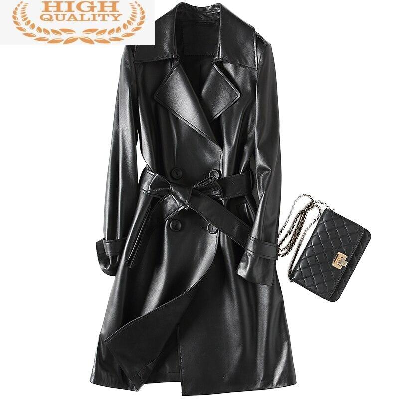 جلد طبيعي سترة المرأة 2021 موضة معطف جلد الغنم الحقيقي طويل خندق الإناث مع حزام الخريف جواكت شتوية YFG7019