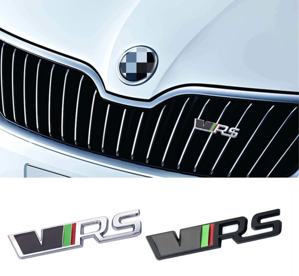 NEW!For VRS Grill sport Metal 3D decal for Vw Skoda Rapid Yeti, for Octavia Fabia car front grille badge emblems stickers