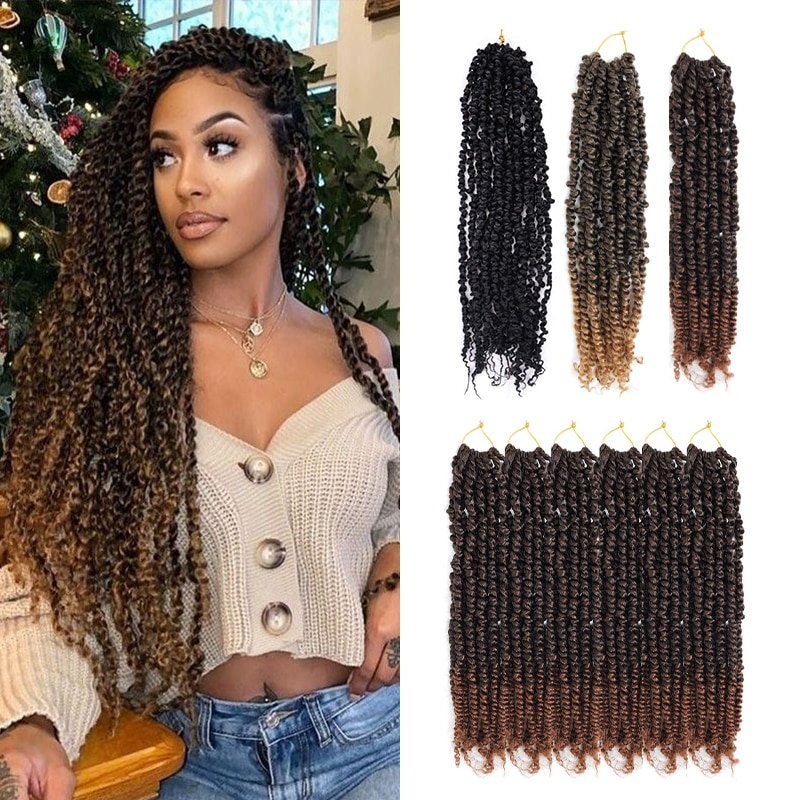 Crochet Spring Twist Hair Pretwisted Twist Fluffy Synthetic Pre looped Passion 18 inch Braids hair Extension for women 16 Roots