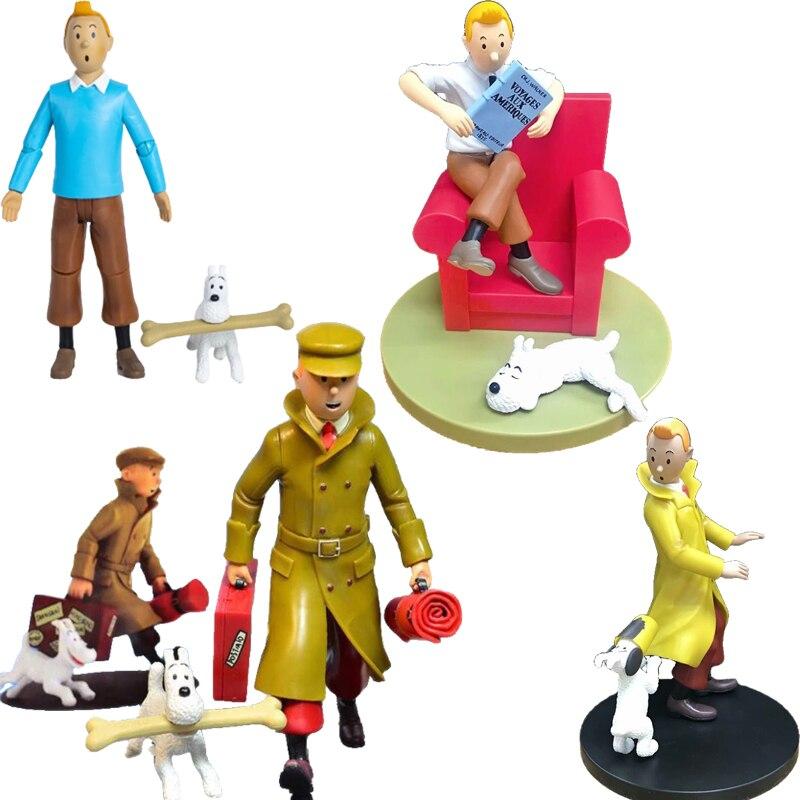 15cm Les Aventures De Tintin Et Milou Tintin figurine Anime Les Aventures De Tintin PVC Collection modèle poupées jouets cadeaux