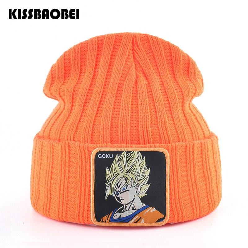 Unisex Dragon Ball Z GOKU gorro de invierno gorro para hombres Skullies mujeres punto gorros gorras hombres bordado caliente sombrero mujeres gorro