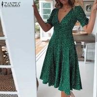 holiday short sleeve vestido zanzea elegant v neck robe 2021 summer bohemian dresses oversize women fashion polka dot knee dress
