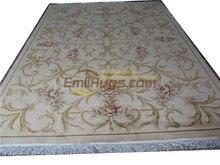 Fait à la main français Savonnerie Design tapis à laiguille tissé à la main Table décor Rectangle tapis Antique 50508-60-129 7.87
