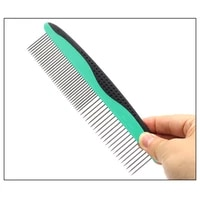 pet stainless steel needle row comb with sparse and dense double teeth open knot combs for dogs cats hair removal beauty product
