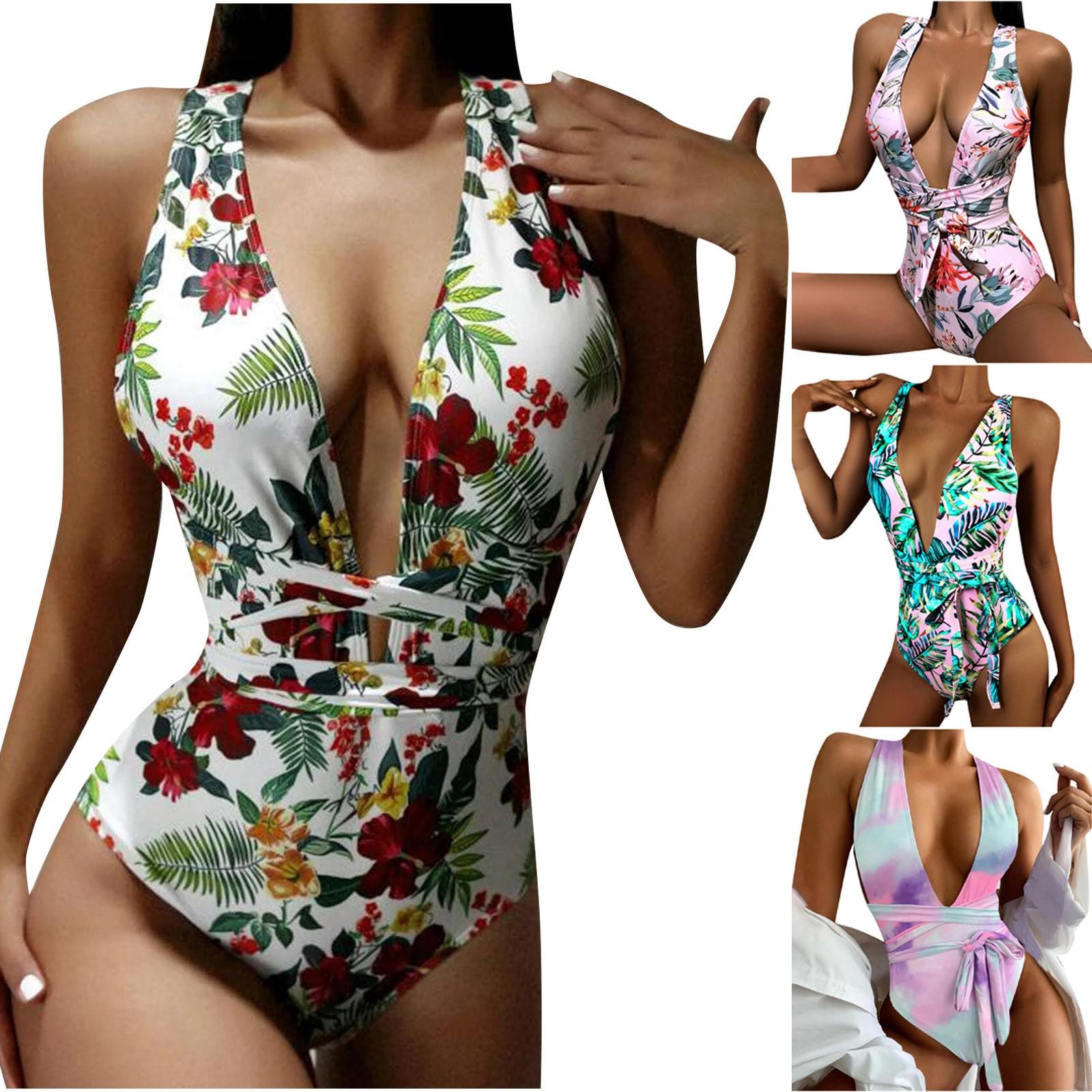 Fashion One Piece Swimsuit Women Swimwear V-Neck Printing Bandage  Siamese Swimsuit Bikini Swimming Suits bañadores mujer 2021