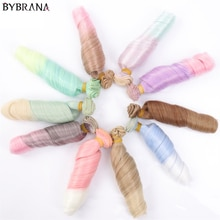 Bybrana bouclé noir marron argent multicolore couleur 25*100cm perruques BJD SD cheveux pour poupées