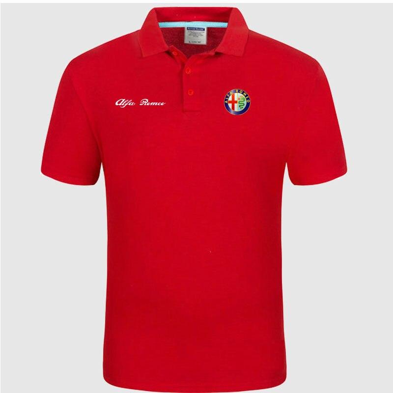 Высокое качество, логотип Alfa Romeo, поло, классический бренд, Мужская рубашка поло, мужская повседневная однотонная хлопковая рубашка поло с коротким рукавом