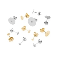 50pcslot surgical stainless steel earring posts back with 3 4 5 6 8 10 12mm glud on flat pad bezel earring studs diy jewelry