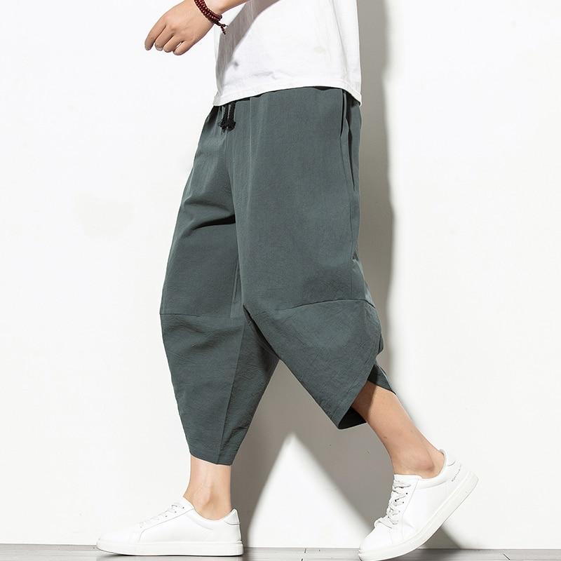 Брюки-султанки мужские хлопковые, повседневные штаны в стиле хип-хоп, брюки-шаровары до щиколотки, джоггеры, уличная одежда, лето