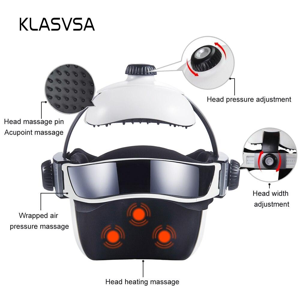 KLASVSA Electric Heating Neck Head Massage Helmet Air Pressure Vibration Therapy Massager Music Muscle Stimulator Health Care enlarge