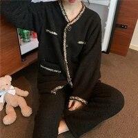 qweek flannel winter warm womens pajamas female set woman 2 pieces elegant sleepwear brief pijama casual pyjamas loungewear pjs