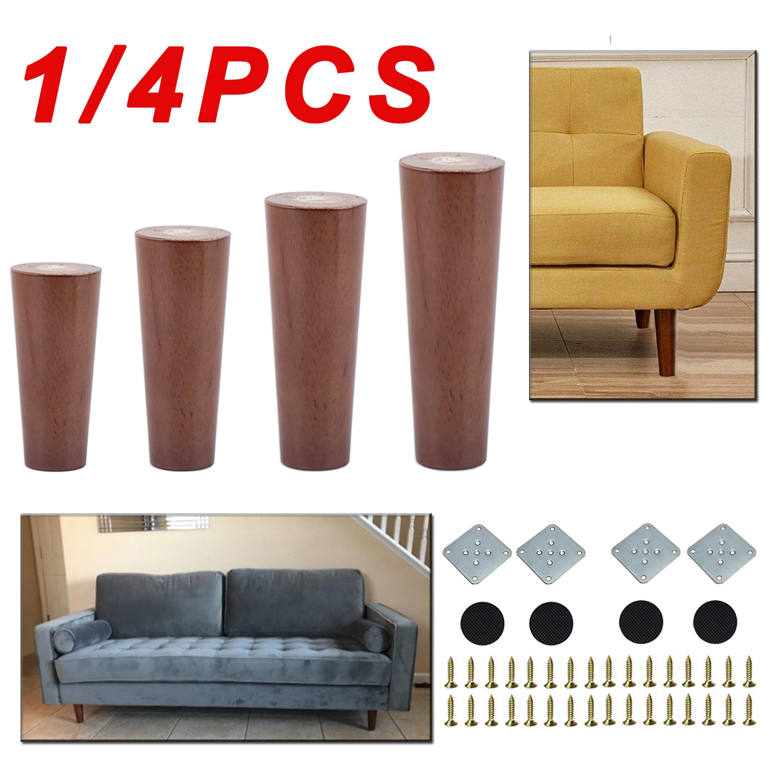 1/4PCS Solid Wood Straight Furniture Legs Walnut Color Legs With Metal Footings Sofa Replacement Legs For Cabinet Couch Table fd self locking switch legs with long legs 2x3 frame