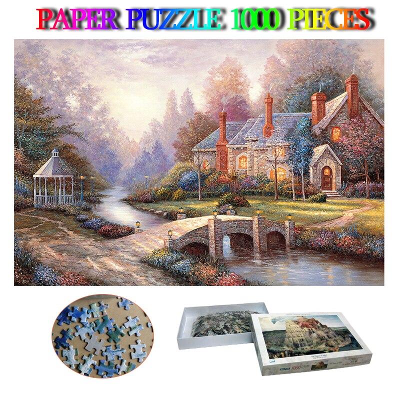 Peaceful otoño 1000 piezas rompecabezas adultos rompecabezas de papel rompecabezas juguetes hermosos rompecabezas de paisaje juegos niños regalos decoración del hogar