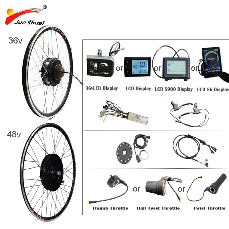"Electric bike conversion kit Bluetooth 36/48V 250W 350W 500W 1000W 1500W 20 ""24"" 26 ""27.5"" 700C EBike front rear hub motor wheel"