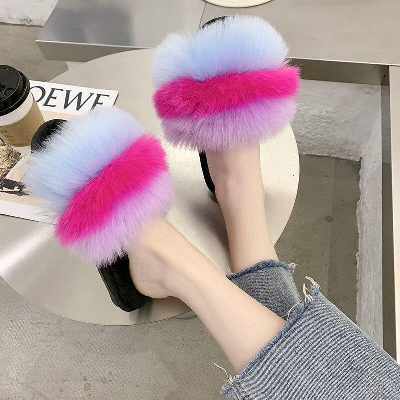 Zapatillas de piel sintética de varios colores deslizantes para casa interior peludas y antideslizantes para mujer 36-41