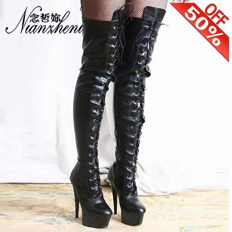 New Style Fashion Gladiator Dress Dancing Gothic Shoes Thin Heels Combat Round Toe 15CM Knee High Boots For Women Platform Sexy
