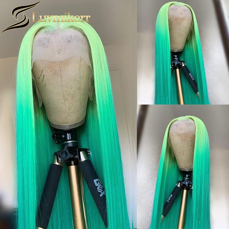 Цветной эффектом деграде (переход от темного к зеленый прямые HD прозрачный 613 блондинка 13x6 Синтетические волосы на кружеве al парики предвар...