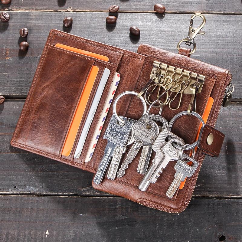 Contact's Vintage Key Wallets Genuine Leather Wallet Men Car Key Holder Housekeeper Hasp Design Coin Purse Zipper Keys Organizer