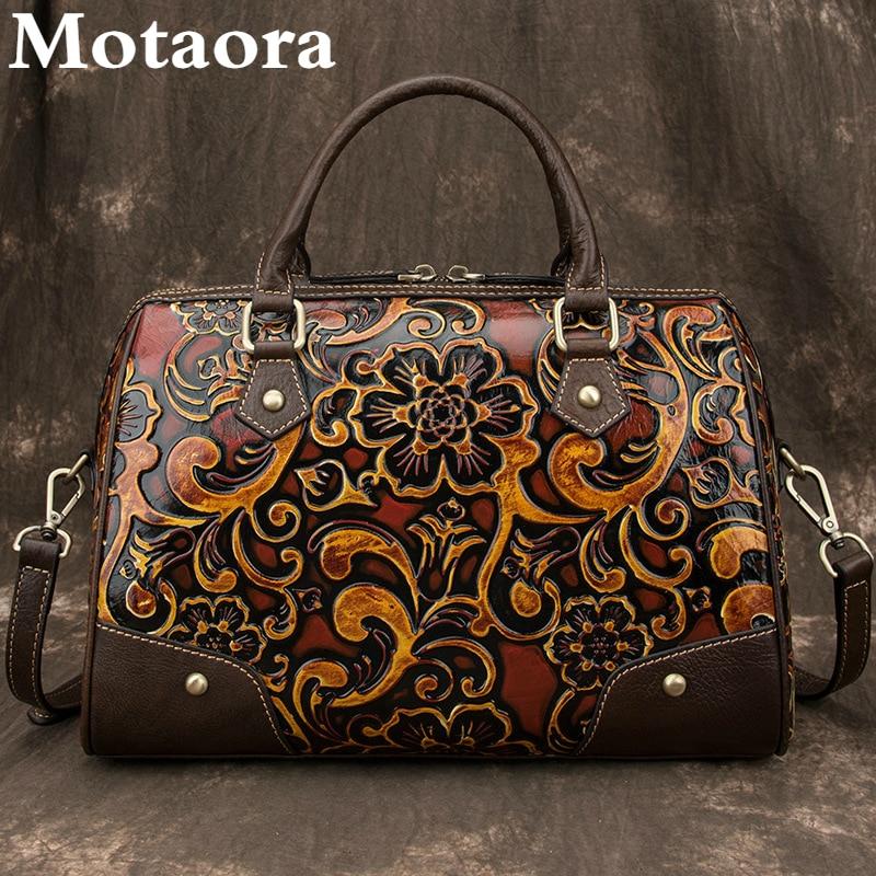 Motaora المرأة حقيبة الإناث حقيبة ترفيه جلد طبيعي الرجعية حقائب اليد للنساء اليدوية النقش حقائب الكتف و Crossbody 2021