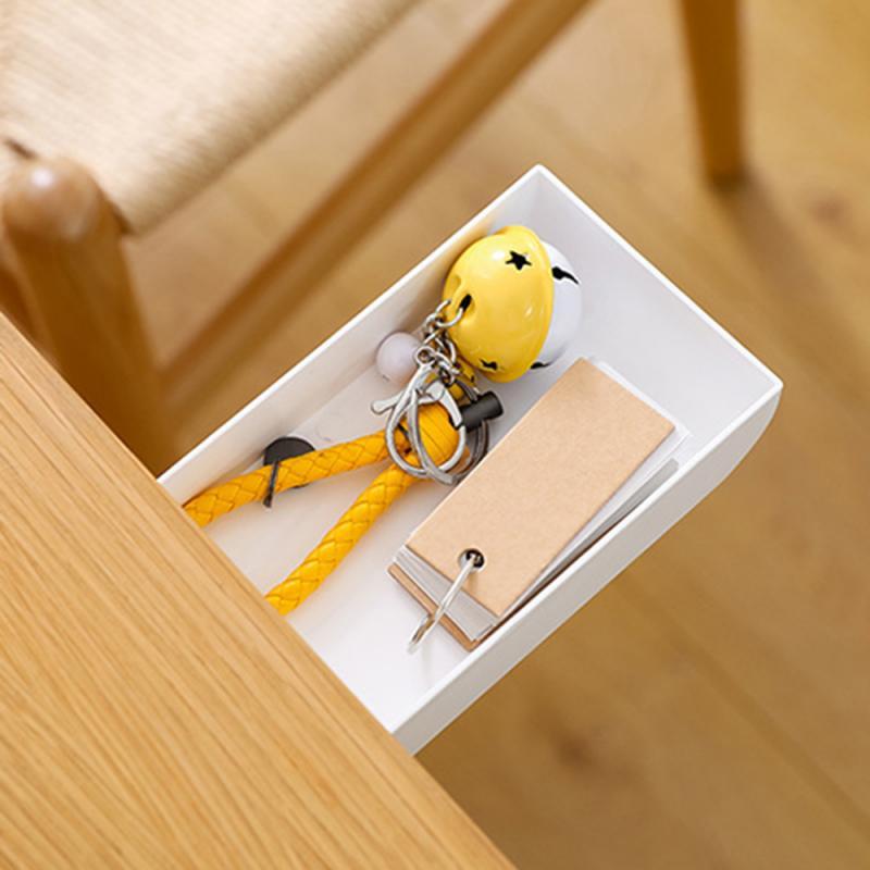 New Hidden Table Under Paste Plastic Desk Organizer  Pen Stationery Storage Box Case Drawer Divider Stationery Sticky Decor