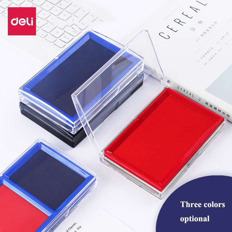 Deli 9864 9865 Square Stamp ink pad 85x135mm stamp pad ink pad Red Black Blue colors Finance Stationery ink pad