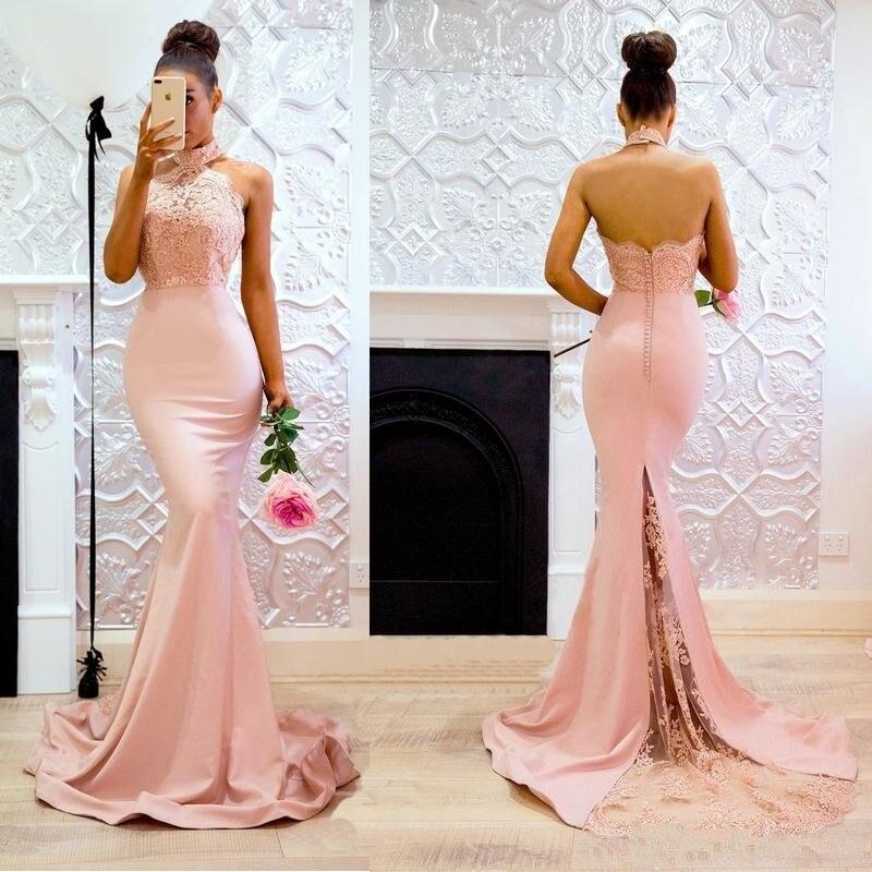 Sexy blush rosa sereia vestidos de dama de honra halter rendas cetim vestidos de dama de honra trem varredura vestido de casamento convidado