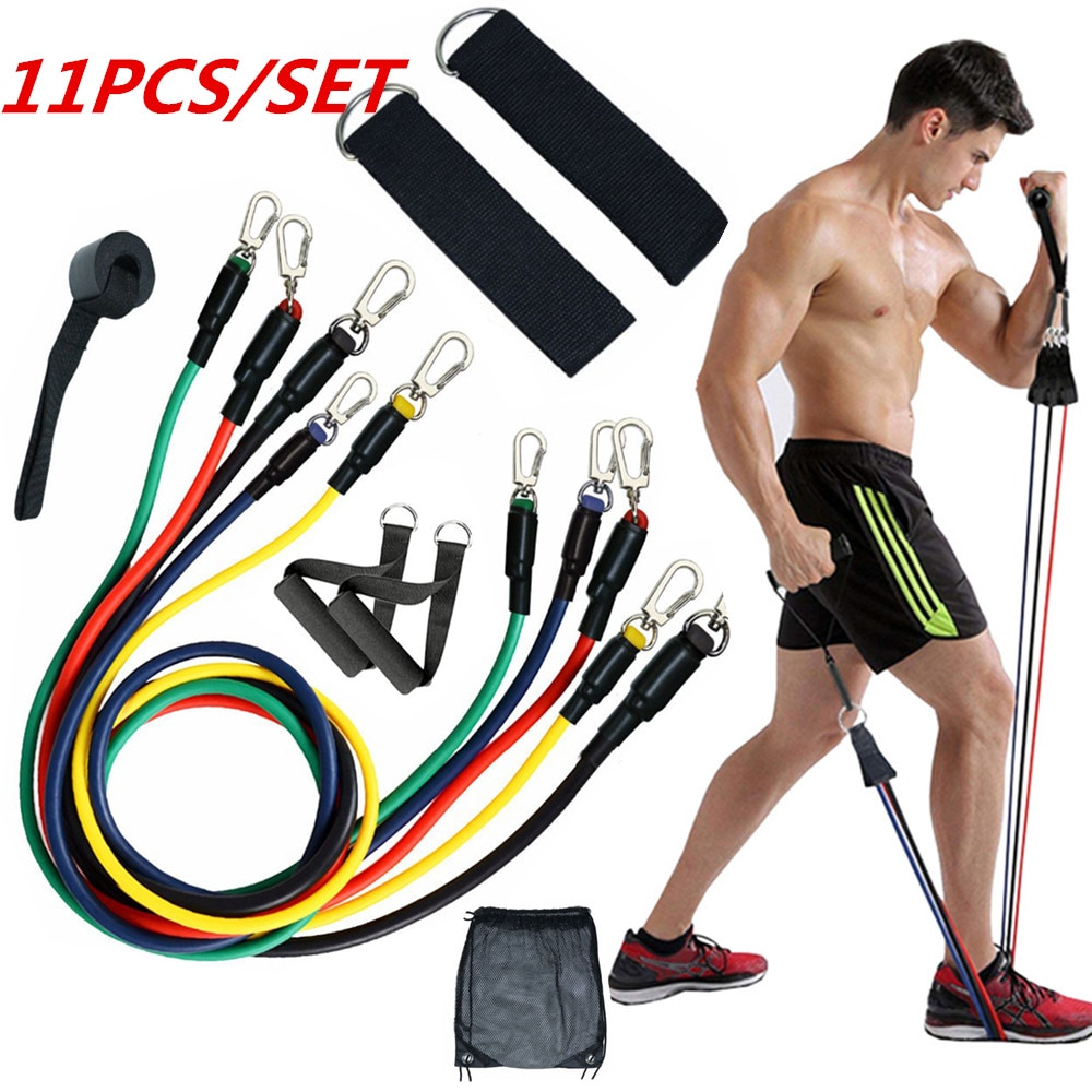 11pcs Yoga Resistance Bands Set Pull Rope Elastic Latex Tubes Fitness Yoga Band Equipment for Gym Fitness For Home Fitness