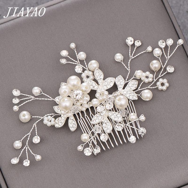 Pearl Rhinestone Hair Comb Women Hair Accessories Decoration For Hair Comb Bride Head Jewelry Flower Bridal Hair Comb Ornament
