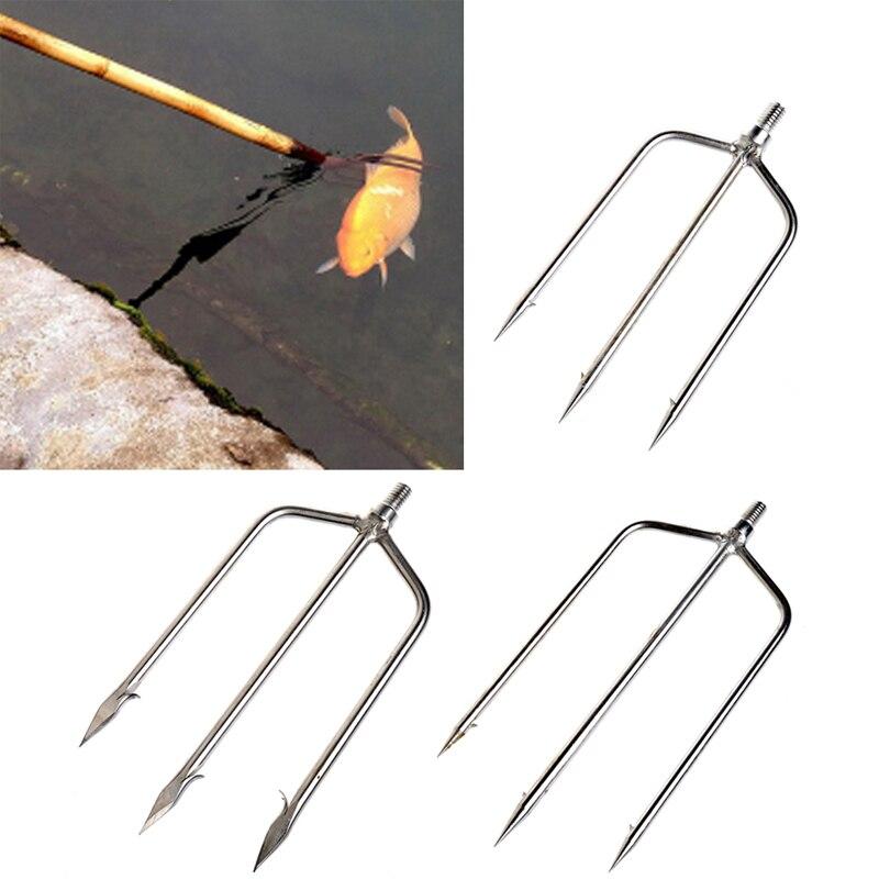 Pesca de acero inoxidable punta arpón Tenedor de pescado de pesca de hielo interruptor accesorio abordar herramienta
