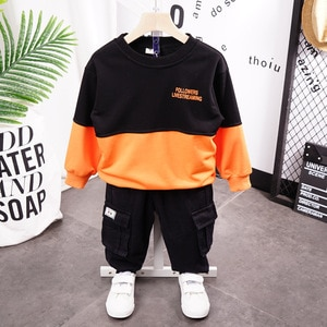 Children's clothing 2020 autumn new round neck letter sweater + tooling pants boy casual suit for kids Sports Clothes Sets 2-7 y