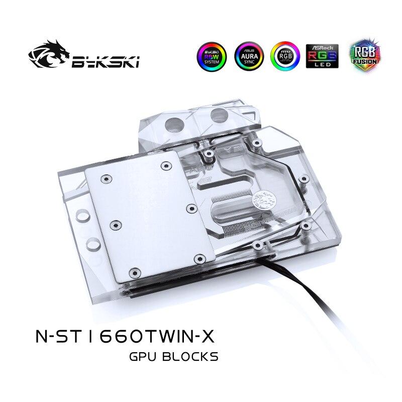 Bykski Water Block use for ZOTAC GTX 1660 twin FAN / Full Cover Copper Radiator Block/RGB Light
