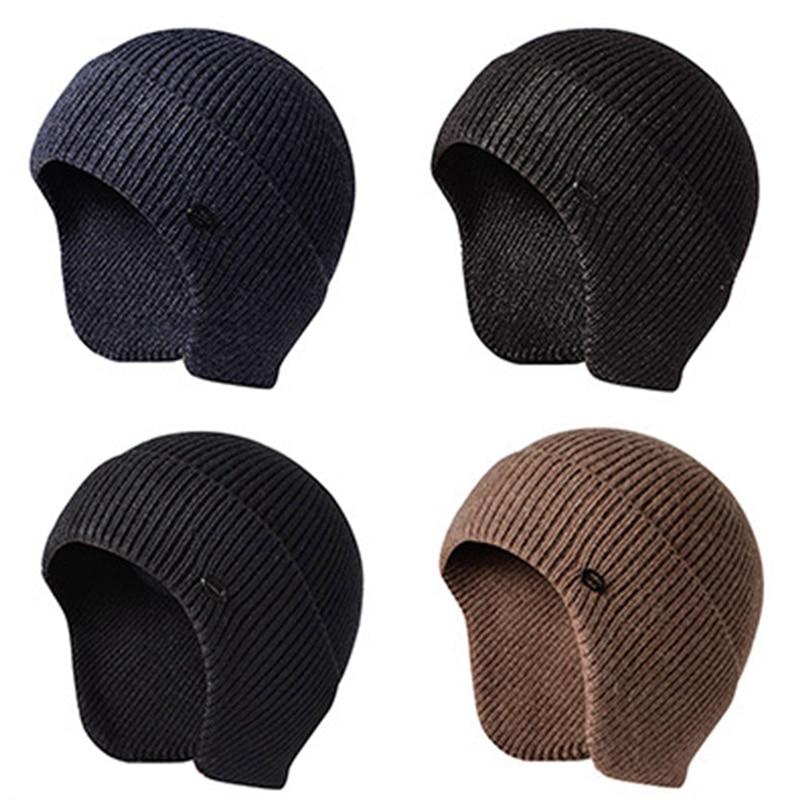 New Mens Peaked Knit Winter Warm Fleece Lined Cap Hat Beanie Ear Flaps Work Outdoor