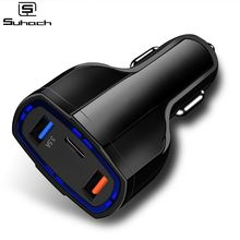 Suhach Dual USB Quick Charge QC 3.0 Car Charger For iPhone USB Type-C PD Fast Charger Mobile Phone Q