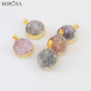 Fashion Gold Color Round Natural Agates Druzy Pendant Necklace 18inch Gold Necklace, Natural Druzy Necklace for Women G2020