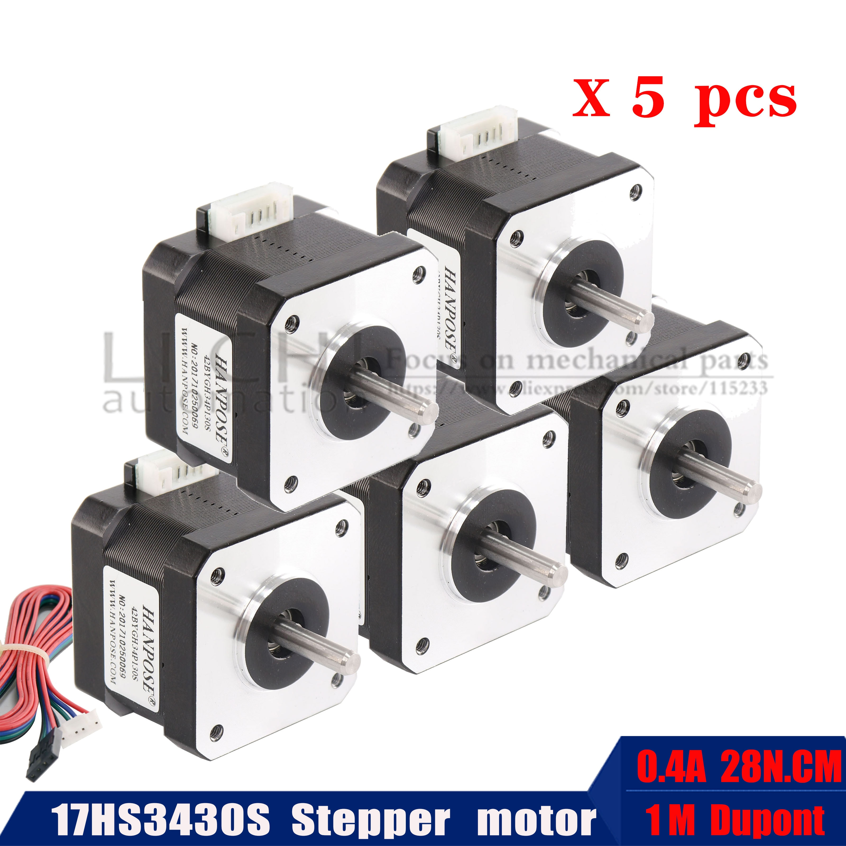 5 uds 42bygh 1.8A (17hs3430S) motor paso a paso 4-wire nema17 42x34mm para impresión 3D