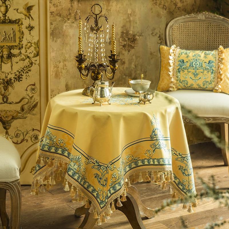 نوبل وأنيقة مفرش المائدة المستديرة أوروبا الثقيلة شرابة المطبوعة نمط مفرش طاولة عشاء المطبخ ديكور المنزل زهرة الطيور الأصفر