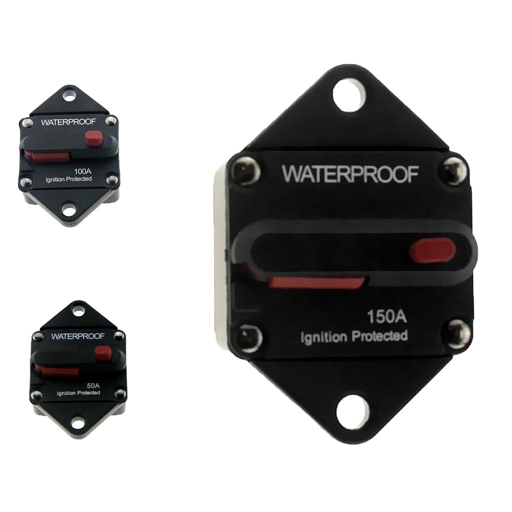 50 Amp, interruptor de circuito de reinicio Manual, Auto Barco, soporte de fusible de Audio 12/24v