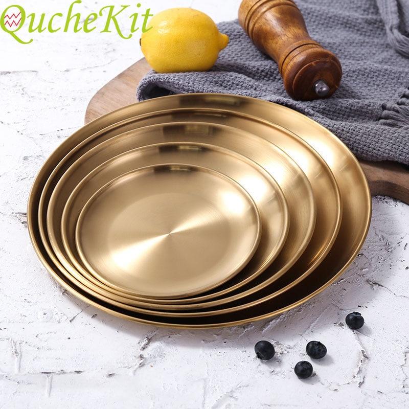 Bandeja de ouro luxo metal redondo bandeja de armazenamento smiple lanche bolo exibição placa de metal aço inoxidável fotografia adereços decoração da sua casa