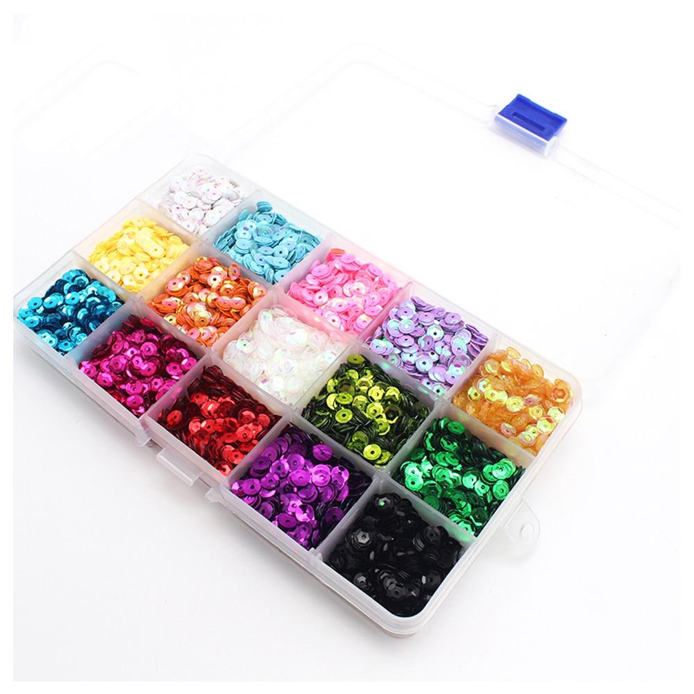 Juego de lentejuelas ultrafinas de colores para uñas, brillantina brillante, lentejuelas redondas, polvo mixto, decoración artística