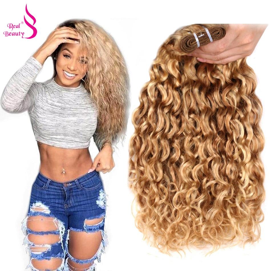 Натуральные волосы для наращивания P27/613, волнистые, волнистые, бразильские, два тона, волнистые, 12-24 дюйма, 1 пучок