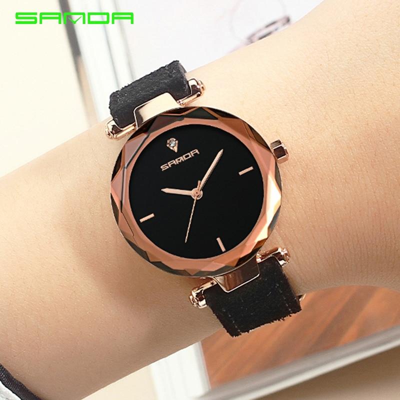 Relógio de Pulso Sanda Couro Genuíno Ouro Mulheres Relógios Senhoras Moda Famosa Jóias Diamante Feminino 2021 Reloj Mujer Saat